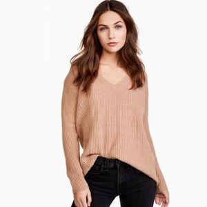 Madewell Woodside Wool V Neck Tan Sweater